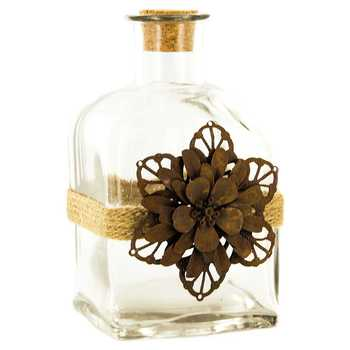 Twine-Wrapped Bottle With Metal Flower